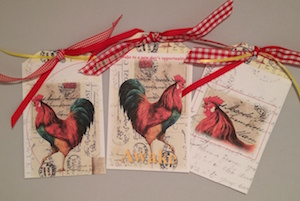 Set of 3 Rooster Gift Tags Image