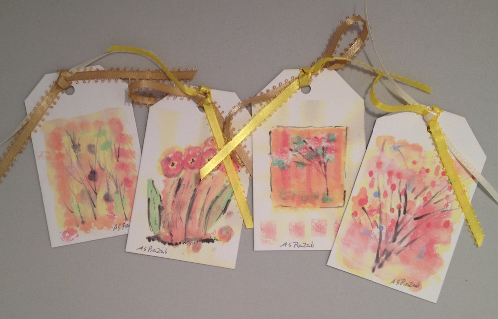 Set of 4 Watercolor Flower Tags Image