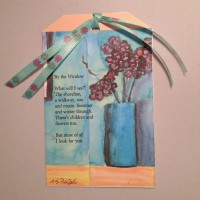 Watercolor Flowers by Window with Poem Image