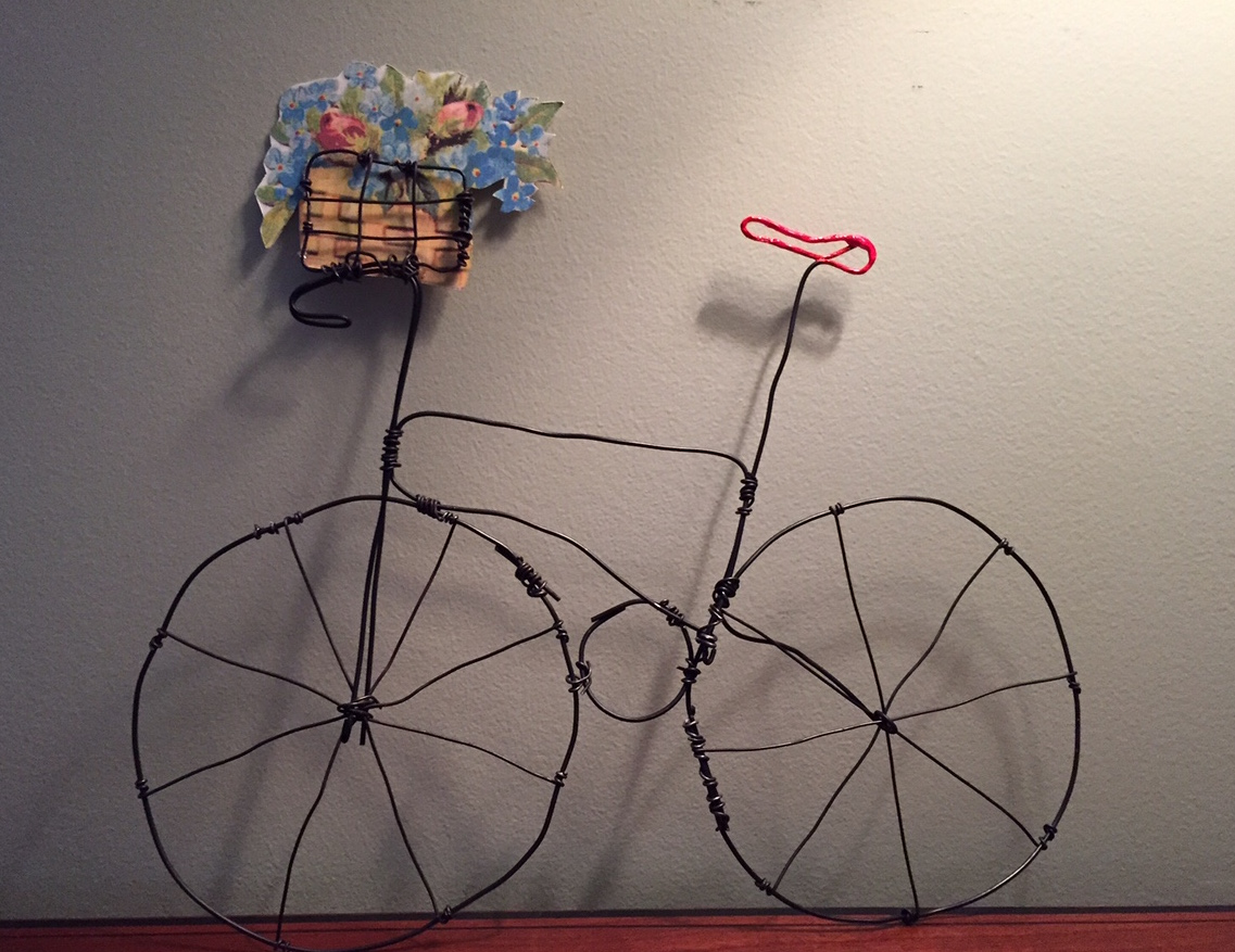 Wire Form Bike with Flower Basket Image