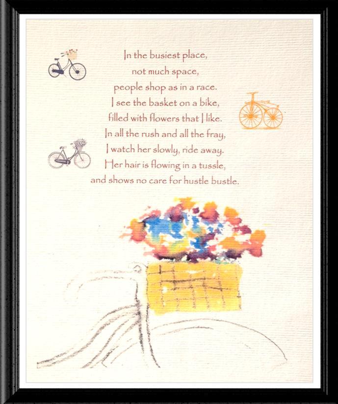 Bicycle Poem Watercolor Image