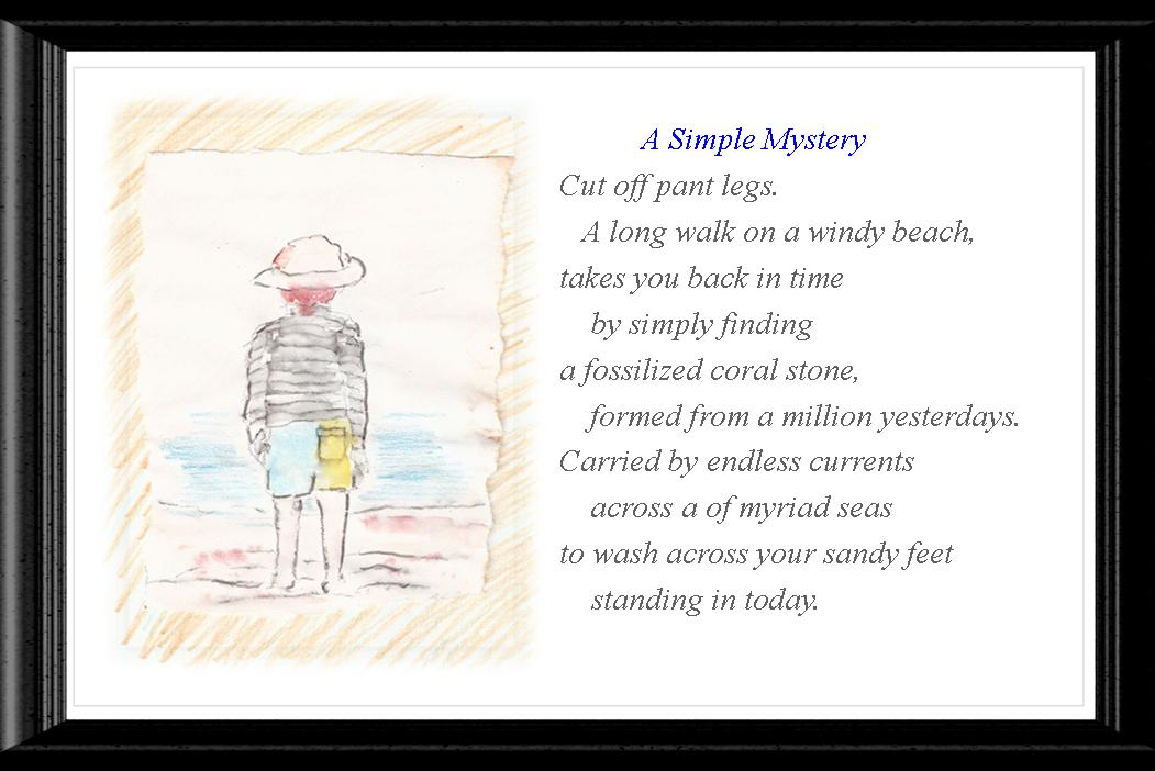 Boy Seashore Poem and Watercolor Image
