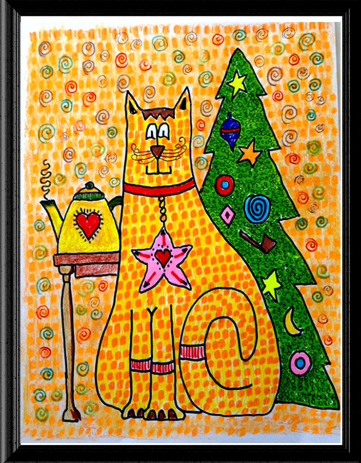 Folk Art Christmas Cat Image