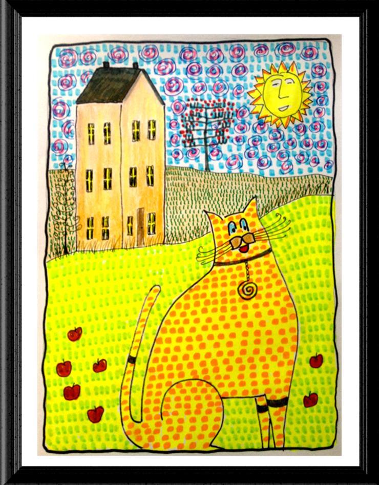 Folk Art Cat Print on Apple Farm Image