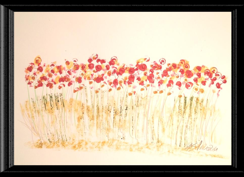 Red Poppy Flowers Watercolor Image