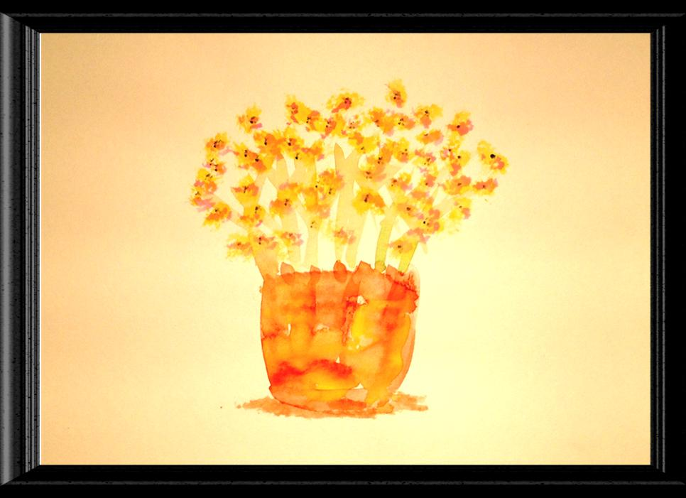 Yellow Flower Pot Watercolor Print Image